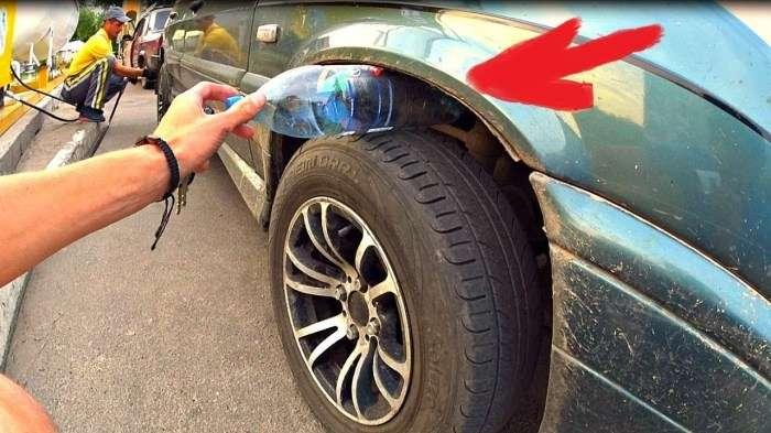 Почему надо насторожиться водителям, которые увидели пластиковую бутылку возле колеса авто