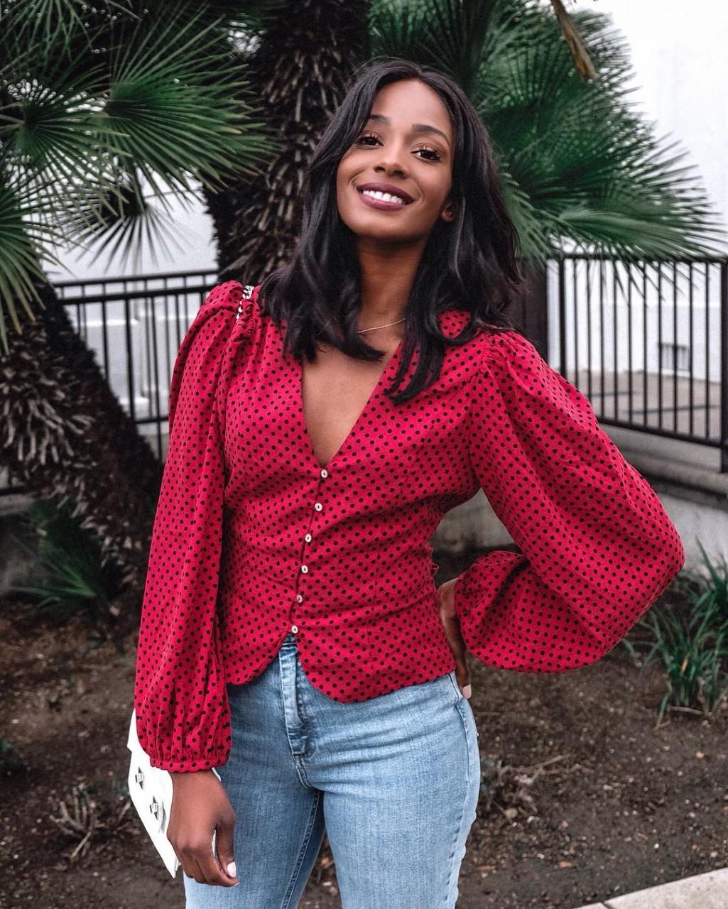 Женственно и привлекательно - 8 стильных идей, с чем носить блузку в горошек весной 2019 весна 2019
